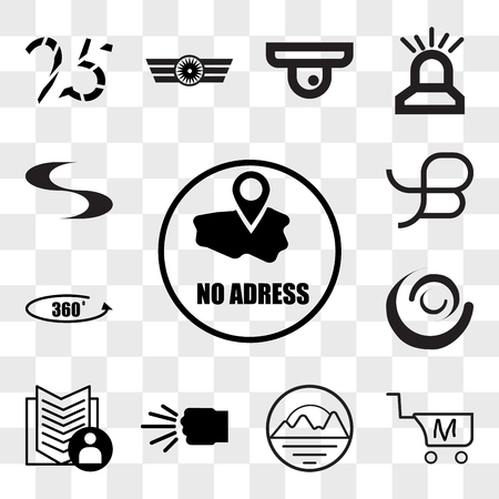 Set Of 13 transparent editable icons such as no address, shop cart m letter, pinnacle, fist bump, guestbook, swish, 360 photo, beta, web ui icon pack, transparency set Illustration