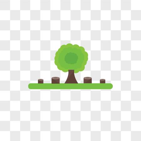 Icono de vector de deforestación aislado sobre fondo transparente, concepto de logo de deforestación Logos