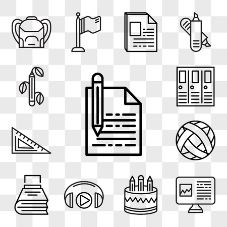 Set Of 13 transparent editable icons such as Pencil, Computer, Headphones, Writing, Football, Protractor, Lockers, Biology, web ui icon pack, transparency set Stock Illustratie