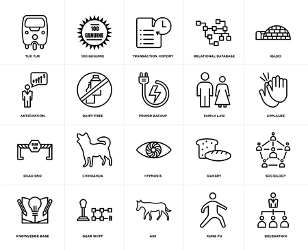 Set Of 20 simple editable icons such as delegation, applause, igloo, relational database, knowledge base, 100 genuine, bakery, anticipation, web UI icon pack, pixel perfect Illustration