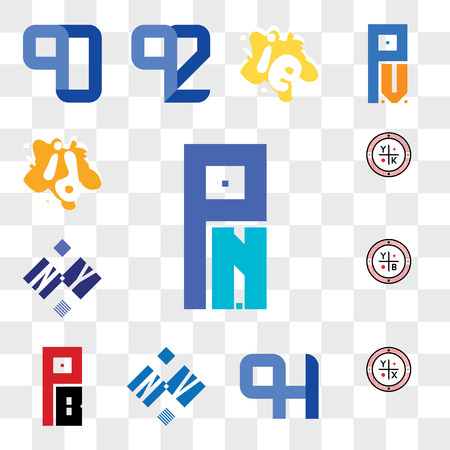 Set Of 13 transparent editable icons such as PN or NP, YX, QH HQ, NV VN, PB BP, YB, NY YN, YK, id di, web ui icon pack, transparency set