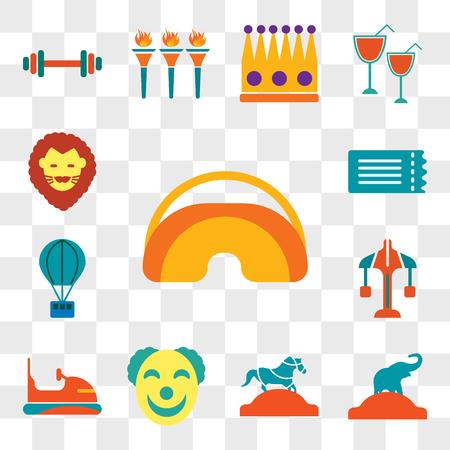 Conjunto de 13 iconos editables transparentes como máscara de ojos, elefante, caballo, payaso, parachoques, carrusel, globo de aire caliente, billete, león, paquete de iconos de interfaz de usuario web, conjunto de transparencia Ilustración de vector