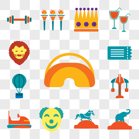 Set Of 13 transparent editable icons such as Eye mask, Elephant, Horse, Clown, Bumper, Carousel, Hot air balloon, Ticket, Lion, web ui icon pack, transparency set