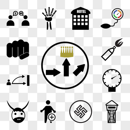 Set Of 13 transparent icons such as leaderboard, lifeguard tower, Black swastik, occupational therapy, yak, pressure sensor, disposition, anarchy, web ui editable icon pack, transparency set