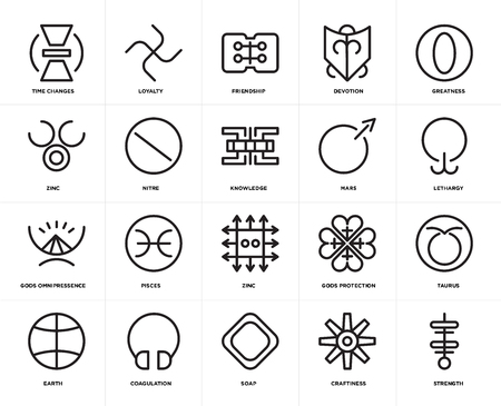 Set Of 20 icons such as Strength, Craftiness, Soap, Coagulation, Earth, Greatness, Mars, Zinc, Gods omnipressence, Nitre, Friendship, web UI editable icon pack, pixel perfect Illustration