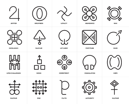 Set Of 20 icons such as Sulphur, Authority, Pluto, Zinc, Wax, Fortitude, Commitment, Lifes challenges, Loyalty, web UI editable icon pack, pixel perfect Illustration