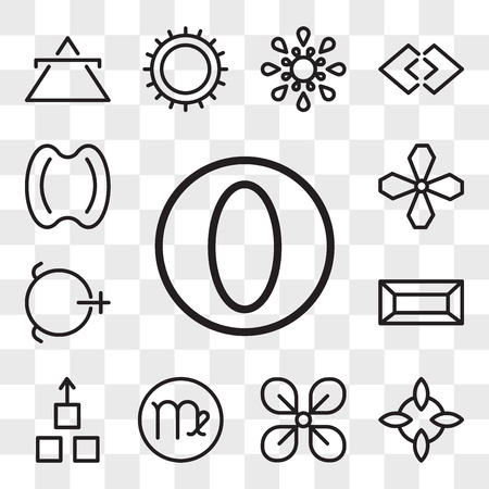 Set Of 13 transparent editable icons such as Greatness, Good luck, Affluence, Virgo, Wood, Gold, Salt, Soot, Hope, web ui icon pack, transparency set Illustration
