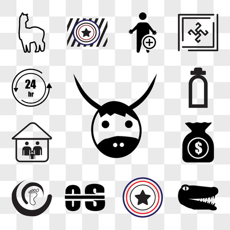 Set Of 13 transparent editable icons such as yak, gator, Airforce, occupational therapy, podiatry, accounts payable, our family, fire dept, 24 hr, web ui icon pack, transparency set Illustration