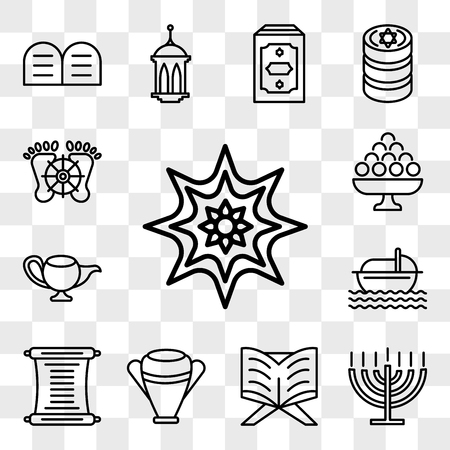 Set Of 13 transparent editable icons such as Arabic Art, Big Menorah, Reading Quran, Manna Jar, Torah, Moses, Genie Lamp, Laddu, Feet, web ui icon pack, transparency set