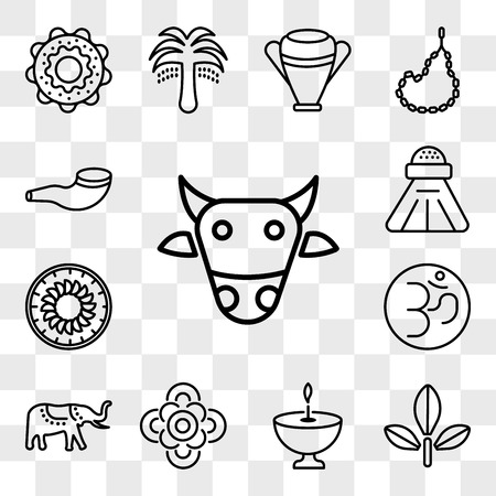 Set Of 13 transparent editable icons such as Sac cow, Bael tree, Religion, Flowers, Elephant, Om, Apple Cake, Religious Salt, Shofar, web ui icon pack, transparency set
