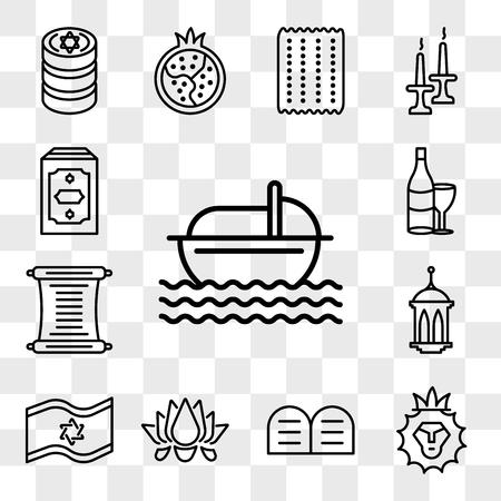 Set Of 13 transparent editable icons such as Moses, Lion of Judah, Halakha, Lotus, Israel Flag, Islamic Lantern, Torah, Hebrew Wine, Holy Quran, web ui icon pack, transparency set