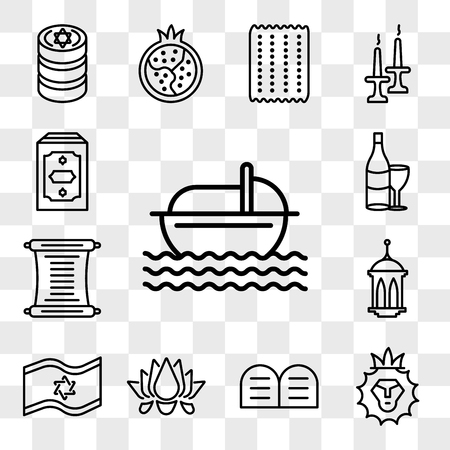 Set Of 13 transparent editable icons such as Moses, Lion of Judah, Halakha, Lotus, Israel Flag, Islamic Lantern, Torah, Hebrew Wine, Holy Quran, web ui icon pack, transparency set