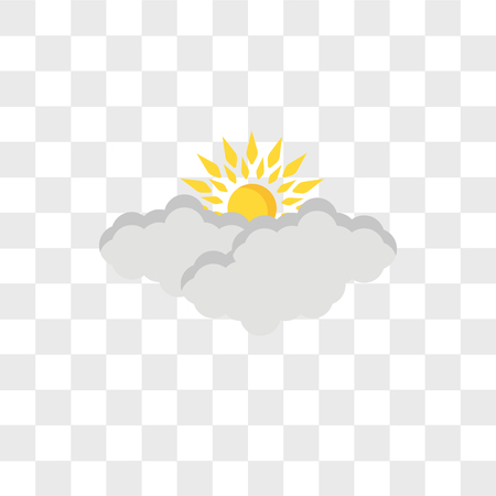 Icono de vector de nubes y sol aislado sobre fondo transparente, concepto de logo de nubes y sol Logos