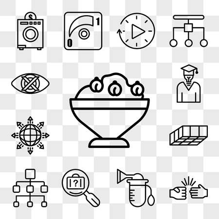Set Of 13 transparent icons such as hummus, rock paper scissors, breast pump, lost and found, org chart, mould, global expansion, general knowledge, web ui editable icon pack, transparency set