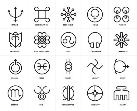 Set Of 20 icons such as Beauty, Ingenuity, Perseverance, Zinc, Scorpio, Wisdom, Coagulation, Uranus, Gods protection, shield, web UI editable icon pack, pixel perfect