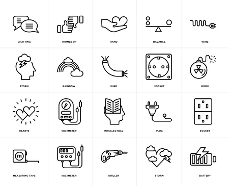 Set Of 20 icons such as Battery, Storm, Driller, Voltmeter, Measuring tape, Wire, Socket, Intellectual, Hearts, Rainbow, Hand, web UI editable icon pack, pixel perfect