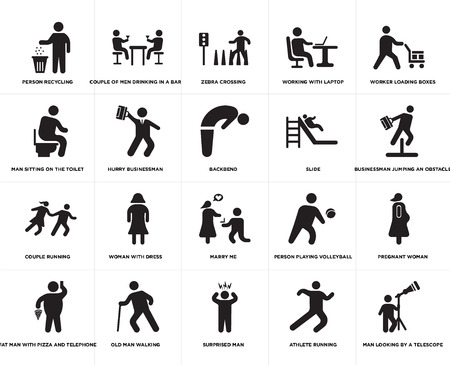 Set Of 20 simple editable icons such as Backbend, Athlete running, Surprised Man, Old man walking, Slide, web UI icon pack, pixel perfect