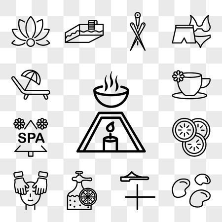 Set Of 13 transparent icons such as Aromatherapy tool, mineral stones, Sandals for spa, Fragrance bottle, Spa facial treatment with mask and massages, web ui editable icon pack, transparency
