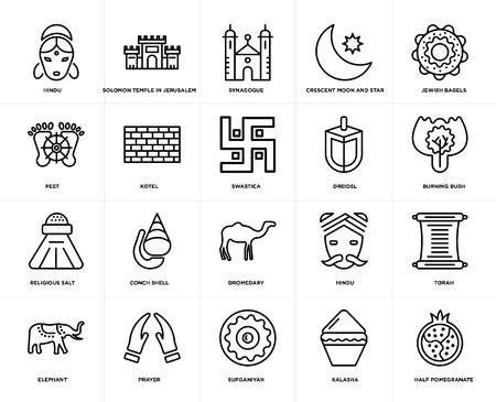 Set Of 20 icons such as Half Pomegranate, Kalasha, Sufganiyah, Prayer, Elephant, Jewish Bagels, Dreidel, Dromedary, Religious Salt, Kotel, Synagogue, web UI editable icon pack, pixel perfect