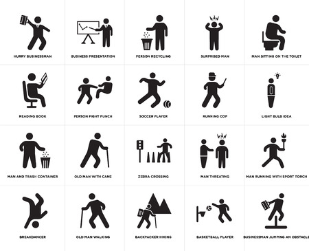 Set Of 20 simple editable icons such as Light bulb idea, Backpacker Hiking, Old man walking, Reading book, Soccer player, web UI icon pack, pixel perfect Illustration