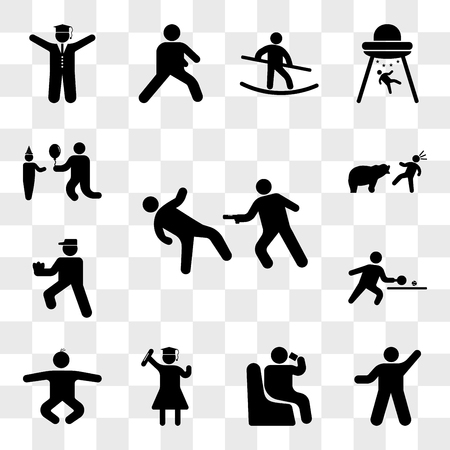 Set Of 13 transparent icons such as Matrix Scene, Person exercise heating, sitting and drinking, Graduated student, Baby Boy, web ui editable icon pack, transparency
