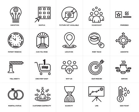 Set Of 20 simple editable icons such as dew point, agnostic, prerende, headcount, marital status, waffle, our mission, patent pending, web UI icon pack, pixel perfect Illustration
