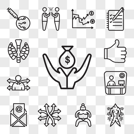Satz von 13 transparenten bearbeitbaren Symbolen wie Kreditgeber, Ginseng, Sumo, vielseitig, E-Mail, Kabine, Vielseitigkeit, Daumen hoch, Schilddrüse, Web-UI-Symbolpaket, Transparenzsatz Vektorgrafik
