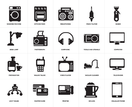 Set Of 20 simple editable icons such as Cellular phone, Computer, Baber, Music player, Light bulbs, Kitchen pack, Vacuum cleaner, Desk lamp, web UI icon pixel perfect Illusztráció