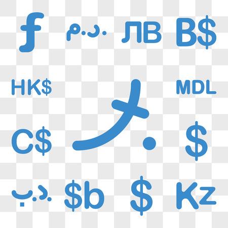 Ensemble de 13 icônes transparentes telles que la devise des Maldives, l'Angola Colombie Bolivie Bahreïn Pitcairn Island, pack d'icônes modifiables de l'interface utilisateur Web, transparence