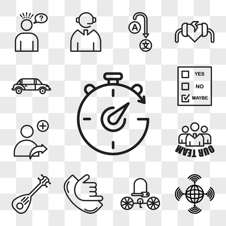 Set Of 13 transparent editable icons such as chrono, wan, bike lock, call me, lute, our team, refer a friend, maybe, limo, web ui icon pack, transparency set