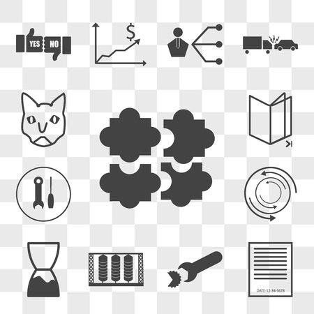 Set Of 13 transparent editable icons such as soft skill, expiration date, breach, silo, torque, troubleshoot, chapter, siamese cat, web ui icon pack, transparency set