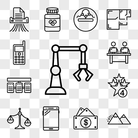 Set Of 13 transparent editable icons such as industry 4.0, avalanche, capital expense, , unbalanced scale, cod, server stack, coworking space, handphone, web ui icon pack, transparency set