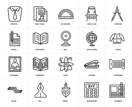 Set Of 20 icons such as Schedule, Blackboard, Pencil, Pen, Scarf, Compass, Earth globe, Atom, Yearbook, Homework, square, web UI editable icon pack, pixel perfect