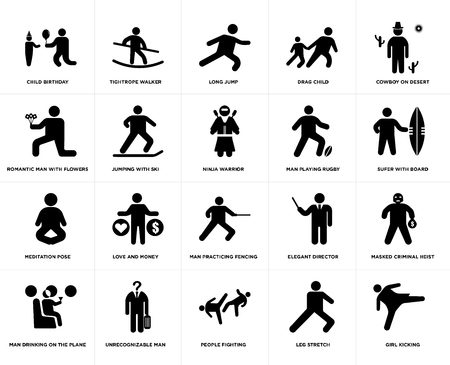 Set Of 20 simple editable icons such as Sufer with board, People fighting, Unrecognizable man, Romantic man flowers, Ninja warrior, web UI icon pack, pixel perfect