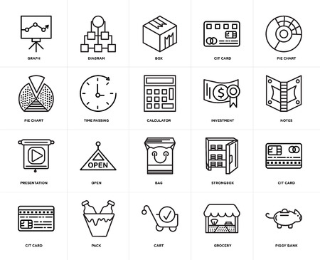 Set Of 20 icons such as Piggy bank, Grocery, Cart, Pack, Cit card, Pie chart, Investment, Bag, Presentation, Time passing, Box, web UI editable icon pack, pixel perfect Illusztráció