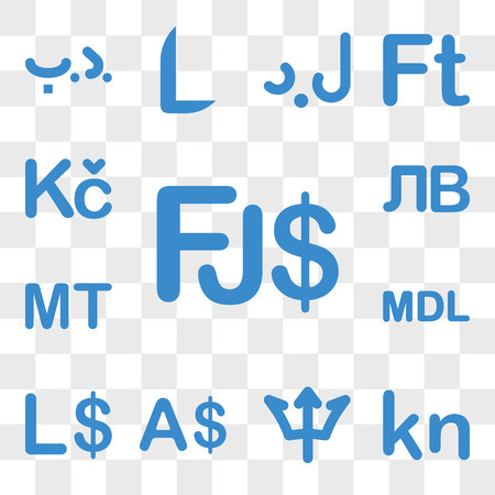 Set Of 13 transparent icons such as Fiji currency, Cape Verde Barbados Currency Liberia Moldova web ui editable icon pack, transparency