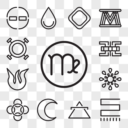 Set Of 13 transparent editable icons such as Virgo, Toughness, Air, Moon, Loyalty, Inequality, Fire, Knowledge, Wax, web ui icon pack, transparency set