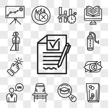 Set Of 13 transparent editable icons such as rfp, cornhole, most read, Desk chair, cpa, neighborhood watch, touchpoint, gaz, gender neutral person, web ui icon pack, transparency set