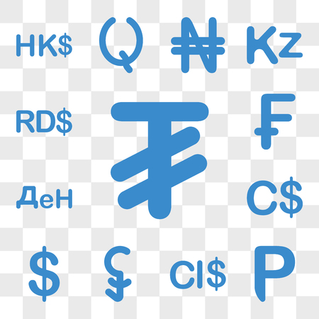 Set Of 13 transparent icons such as Mongolia currency, Botswana Cayman Islands, Cambodia Chile Canada web ui editable icon pack, transparency Illustration