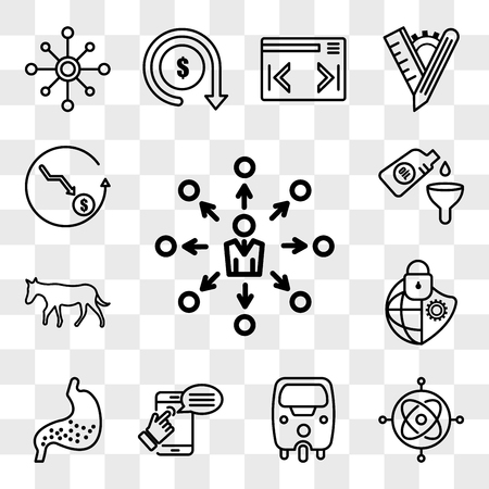 Set Of 13 transparent editable icons such as self management, gyroscope, tuk tuk, help, gut, cybersecurity, ass, oil change, cheaper, web ui icon pack, transparency set