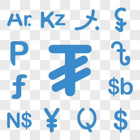 Set Of 13 transparent icons such as Mongolia currency, Colombia Guatemala China Namibia Bolivia web ui editable icon pack, transparency Ilustração
