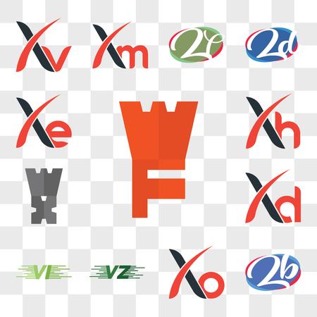 Set Of 13 transparent editable icons such as WF, zb or bz, Xo, VU UV, VI, Xd, Zj, Xh, Xe, web ui icon pack, transparency set