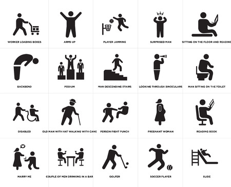 Set Of 20 simple editable icons such as Man descending stairs, Soccer player, Golfer, Couple of men drinking in a bar, Looking through binoculars, web UI icon pack, pixel perfect