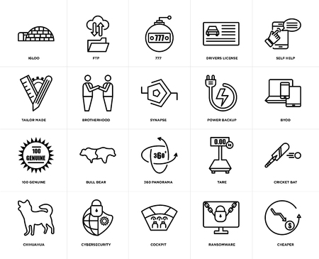 Set Of 20 simple editable icons such as cheaper, byod, self help, drivers license, chihuahua, ftp, tare, tailor made, web UI icon pack, pixel perfect 向量圖像