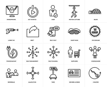 Set Of 20 icons such as cheaper, drivers license, tare, allocation, referrals, igloo, sleep mask, multichannel, power backup, irect, user, web UI editable icon pack, pixel perfect