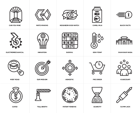 Set Of 20 simple editable icons such as 3.5 mm jack, shaniwar wada, quick facts, camel milk, capex, matchmaking, pre order, electromechanical, web UI icon pack, pixel perfect 일러스트