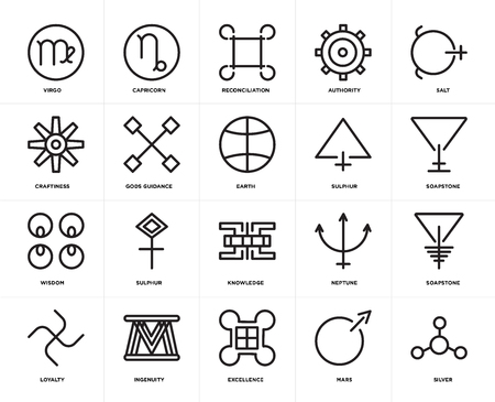 Set Of 20 icons such as Silver, Mars, Excellence, Ingenuity, Loyalty, Salt, Sulphur, Knowledge, Wisdom, Gods guidance, Reconciliation, web UI editable icon pack, pixel perfect Vetores