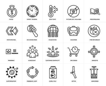 Set Of 20 simple editable icons such as aeropress, fire retardant, proofreading, picture not available, customisation, patent pending, pre order, matchmaking, web UI icon pack, pixel perfect 일러스트
