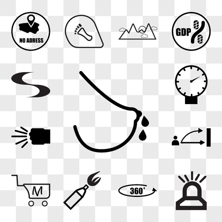Set Of 13 transparent editable icons such as lactation, fire dept, 360 photo, anarchy, shop cart m letter, disposition, fist bump, pressure sensor, swish, web ui icon pack, transparency set Illustration