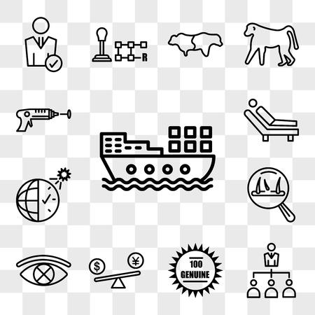 Ensemble de 13 icônes transparentes telles que barge, délégation, 100 authentiques, comparaison de prix, censure, perte de cheveux, heure d'été, psychologue, pack d'icônes modifiable de l'interface utilisateur Web, jeu de transparence